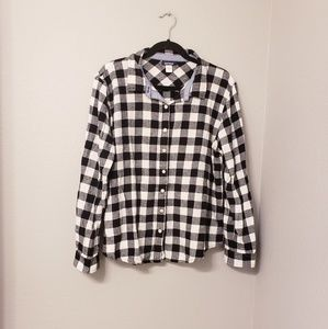 Basic editions black and white plaid button down